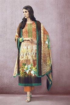 Orange Lawn Printed Straight Cut Salwar Suit
