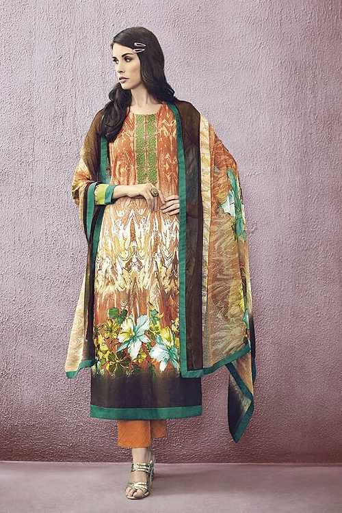 Orange Lawn Printed Straight Cut Salwar Suits