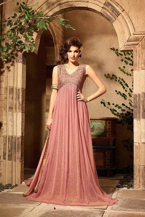 Beautiful Dusty Pink Georgette Evening Anarkali Dress