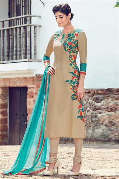 Beige Embroidered Cotton Satin Churidar Salwar Kameez Suit