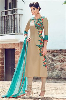Beige Embroidered Churidar Salwar Kameez Suit