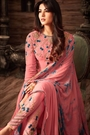 Coral Pink Thread Embroidered Georgette Asymmetrical Long Anarkali Suit