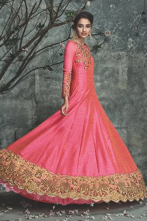 Pink heavy embellished Anarkali suit