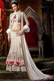 Beautiful feminine White and Red Georgette Lehenga