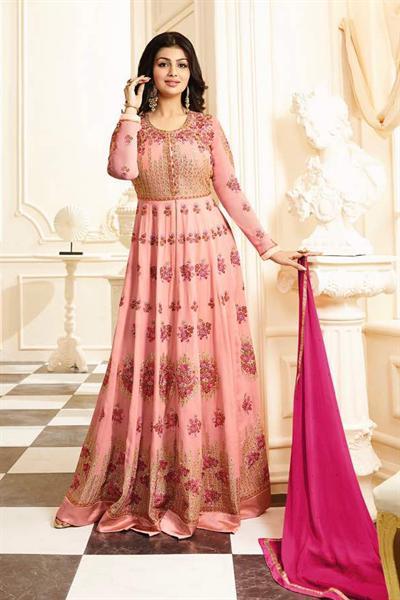 Elegant Floral Pink Embroidered Anarkali Suit in Georgette