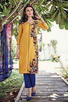 Yellow Designer Cotton Jacquard Salwar Suits