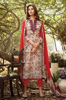 Beautiful Red Beige Brown Printed Cotton Suit