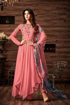 Coral Pink Asymmetrical Embroidered Suit