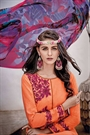 Peachy Orange Embroidered Cotton Jacquard Designer Salwar Suit