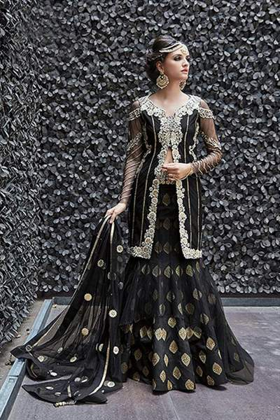 Black Color Pure Designer Heavy Embroidered Net Lehenga