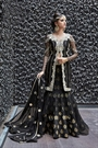Black Color Pure Designer Heavy Embroidered Net Lehenga