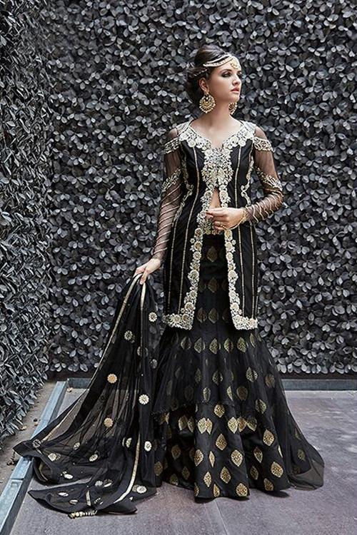 buy black color pure designer heavy embroidered net