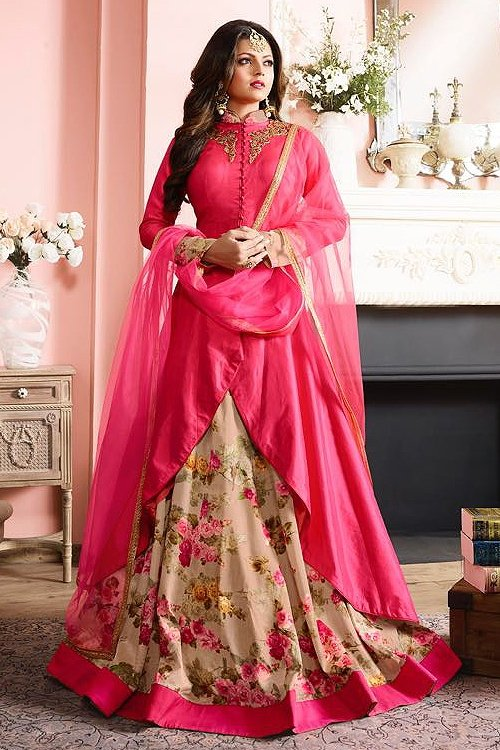 Gorgeous Pink and beige Floral Anarkali Suit