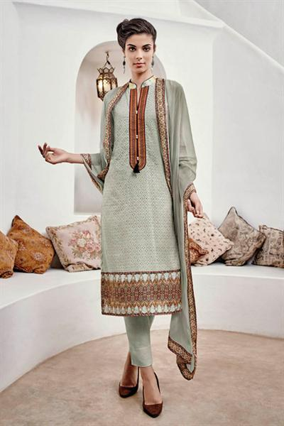 Light Pastel Green Chikankari Cotton Straight Style Salwar Suit