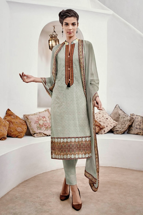 Grey Green Chikankari Straight Style Salwar Suits