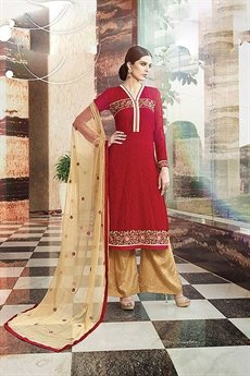 Karma Pure Georgette Suit With Embroidery In Red