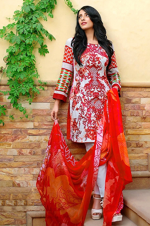 Bollywood White And Red Printed Suit