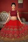 Glam Crimson Red and Burnt Maroon Heavy Embroidered Raw Silk Designer Lehenga