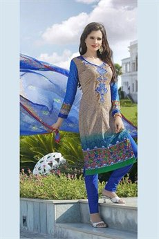 Pure Cotton Printed Salwar Kameez in Light Brown Color