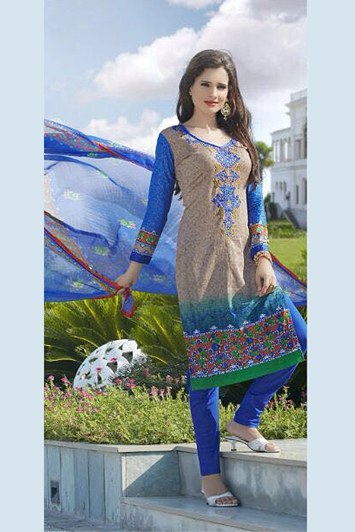 Pure Cotton Printed Salwar Kameez in Teal Color