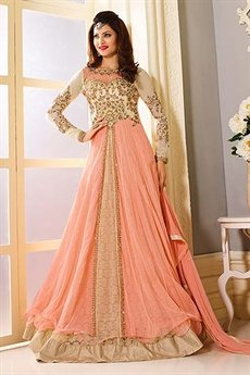 Stunning Peach and Ivory Designer Anarkali Suit