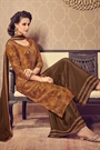 Golden Brown Digital Print Salwar Kameez Palazzo Suit