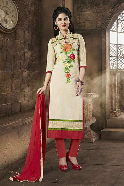 Beige & Red Embroidered Chanderi Cotton Salwar Suits