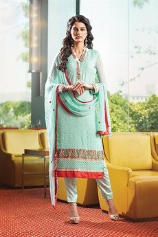 Karma Pure Georgette Suit With Embroidery In Cyan