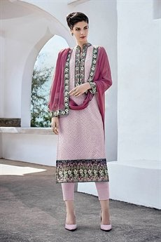 Pink Chinkari Work Straight Cut Style Salwar Suits
