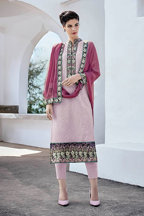 Lavender Purple Chikankari Work Cotton Straight Cut Style Salwar Suit