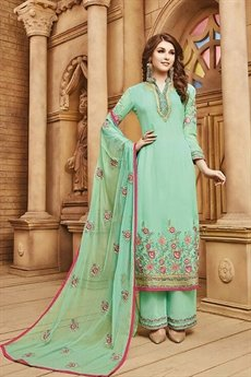 Beautiful Sea Green palazzo Suit with embroidery