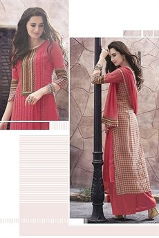 Haya Casual Wear Digital Printed Plazzo Suit In Peach