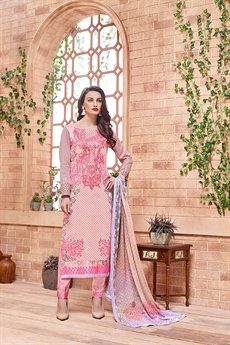 Kashmir Beauty Light pink embroidered Salwar Suit with pure chiffon dupatta