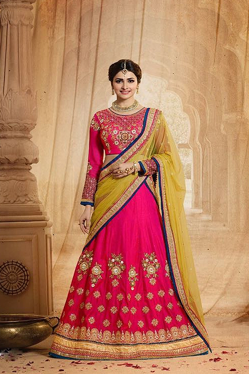 Reddish Pink and Yellow Heavy Embroidered Lehenga Set