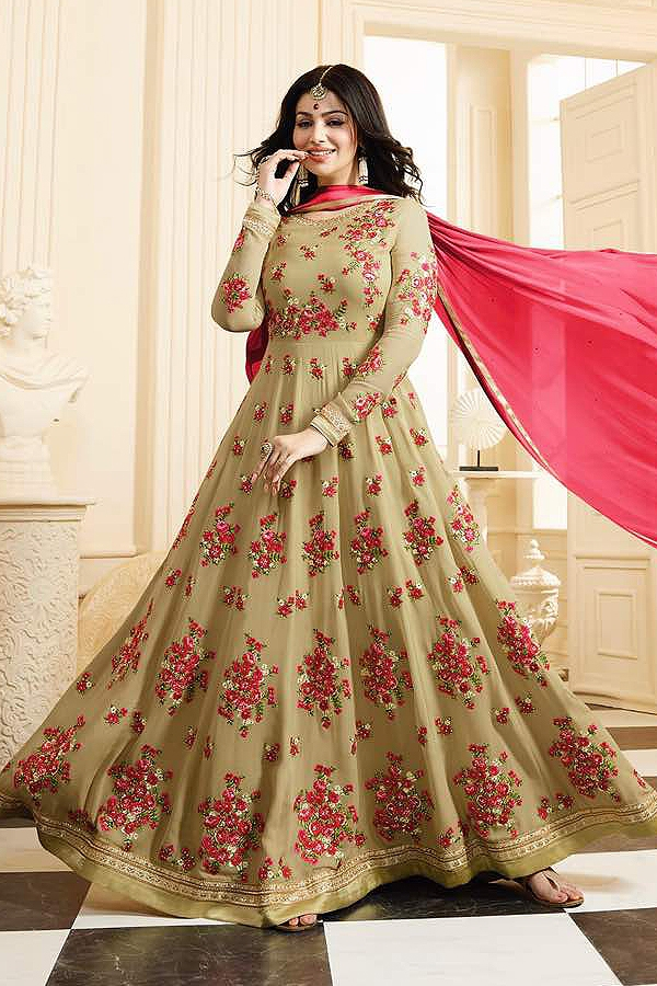 Beautiful Flower embroidered Long Anarkali Suit in Georgette