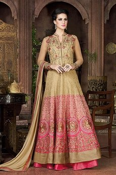 Gold Violet Heavy Embroidery Anarkali Suit