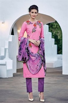 Bahni Elena Designer Cotton Jacquard Brink Pink Color Suit