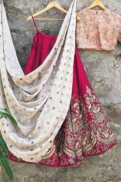 Strawberry Pink Red Zari Embroidered Raw Silk Lehenga With Peach Choli