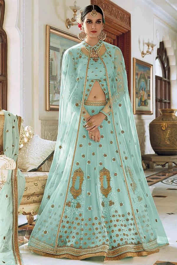 Netted beautiful Light Cyan blue Lehenga/Anarkali Suit With Beautiful Resham Embroidery