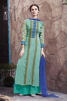 Haya Casual Wear Digital Printed Plazzo Suit In Green