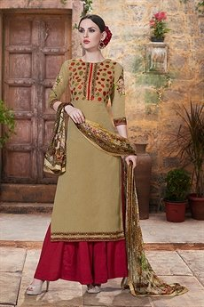 Charming And Beautiful Palazzo Straight Cut Suit With Printed Dupatta In Greenish Brown