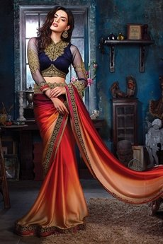 Multi Shade Satin Saree With Embroidered Velvet Blouse