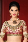 Beige and Pinkish Red Embroidered Mulabari Silk Designer Lehenga
