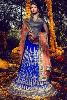 Stunning Ink blue and peach Bhagalpuri silk lehenga