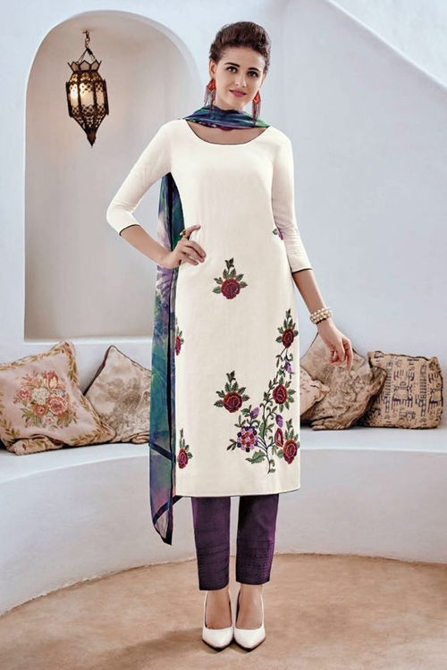 Bahni Elena Designer Cotton Jacquard Salwar Suits White