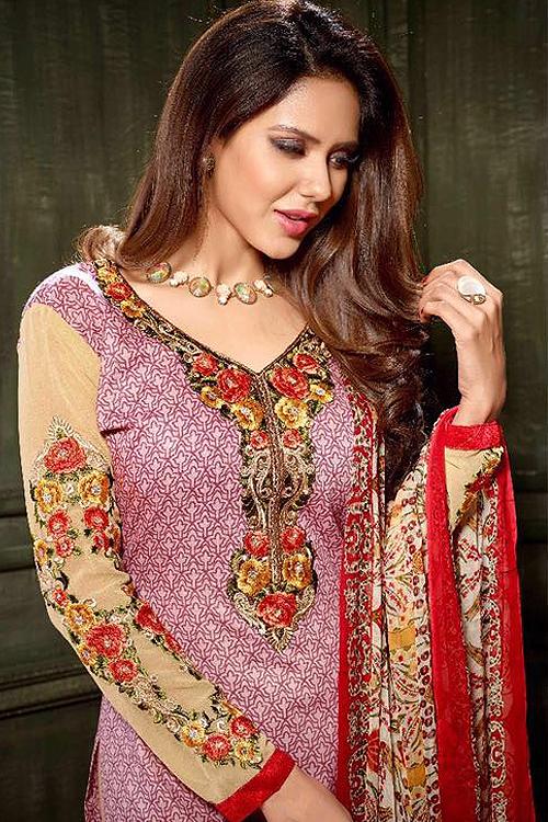 Light Purple Printed Crepe Straight Style Salwar Suit