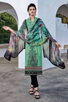 Bahni Elena Designer Cotton Jacquard Suits Sea Green