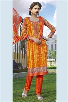 Pure Cotton Printed Salwar Kameez in Tangelo Color