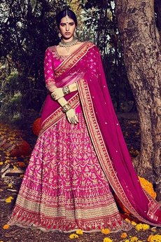 Gorgeous Hot Pink Bhagalpuri silk lehenga