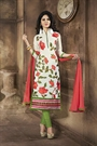 Elegant Off White & Mehandi Green Embroidered Chanderi Cotton Churidar Suits